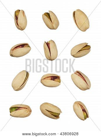 Pistachios Nuts Isolated On White Background, Close Up