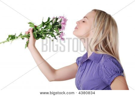 Woman And Bouquet Of Flowers