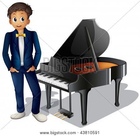 Ilustración de un niño al lado del piano sobre un fondo blanco