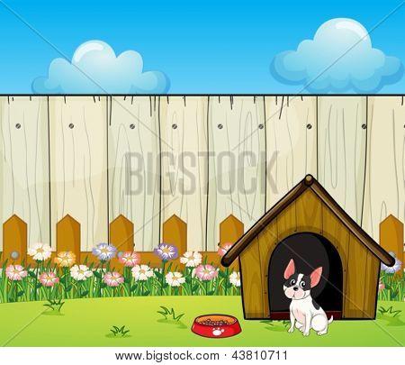 Ilustração de um filhote de cachorro em frente a casinha de cachorro dentro da cerca