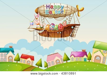 Illustration of an airship above the hills with an easter greeting