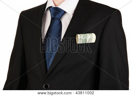 Money in pocket of businessman isolated on white