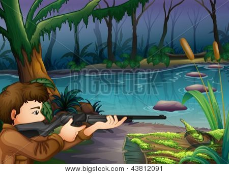 Illustration of a hunter near the river