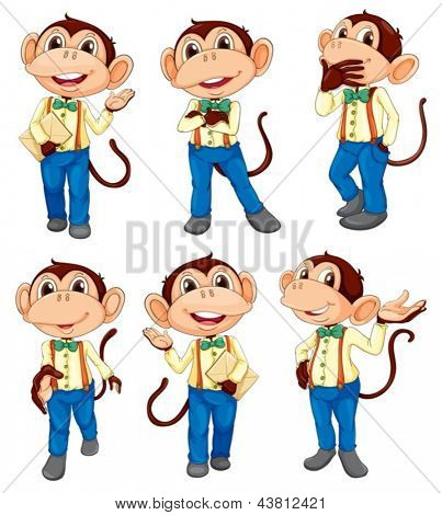 Illustration of the different positions of a monkey on a white background