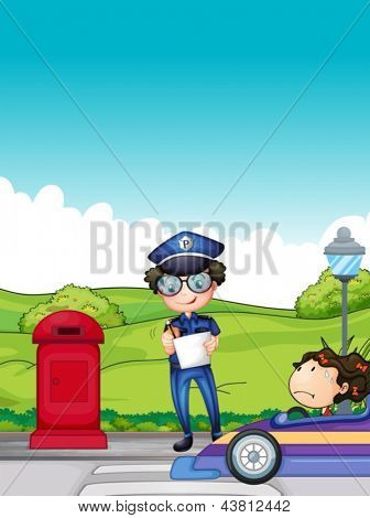 Illustration of a girl caught by the traffic enforcer
