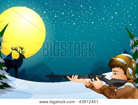 Illustration of a hunter in a snowy season