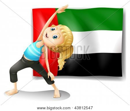 Illustration of the flag of the UAE with a girl stretching on a white background