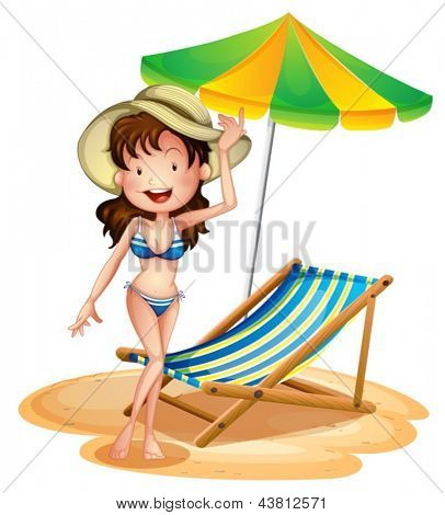 Illustration of a girl near a foldable beach bed and umbrella on a white background