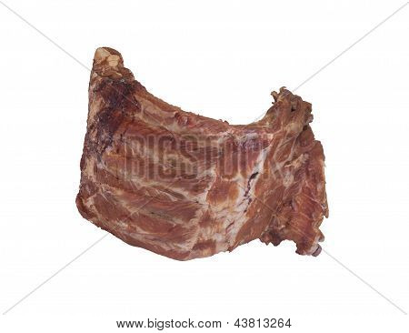 Isolated Smoke Dried Meat Ribs On White Background