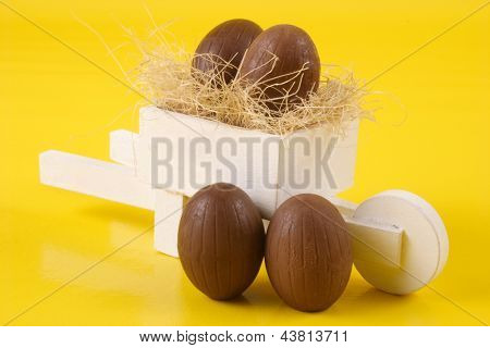 Photo of Four Easter eggs and pushcart