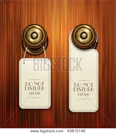 Vector hotel handles with hanging signs on the wooden background
