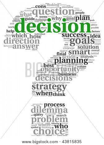 Konzept zur Entscheidungsfindung in Tag-Cloud auf weißem Hintergrund
