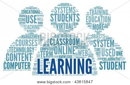 Learning and education concept in word tag cloud on white