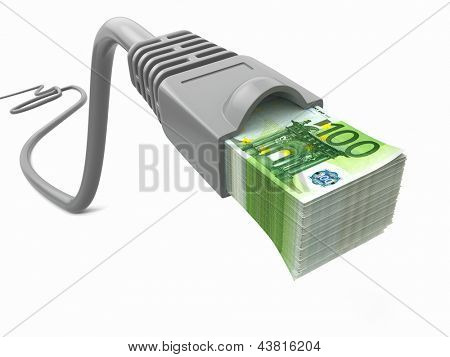 Make money online. Concept. Internet cable with euro. 3d