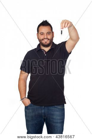 Bearded young men in black giving a key isolated on white background