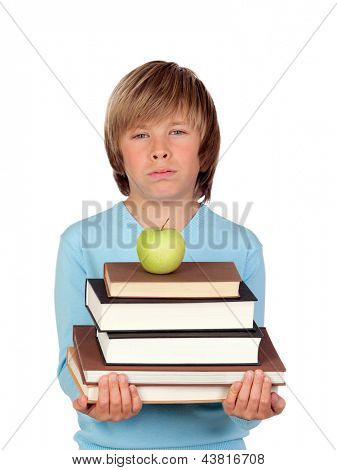 Preteen boy with a many books tired isolated on white background