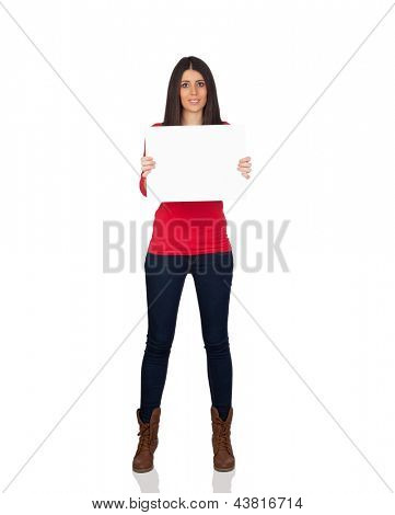 Attractive brunette girl with a white cartel isolated on a over white background