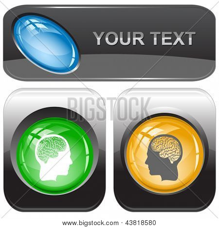 Human brain. Vector internet buttons.