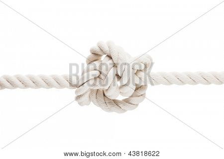 Twisted rope or string with tied knot white isolated
