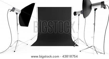 Foto-Studio-Equipment mit Blitze und Hintergrund