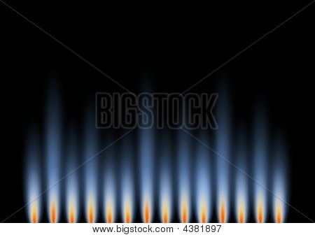 Gas Flames In Landscape