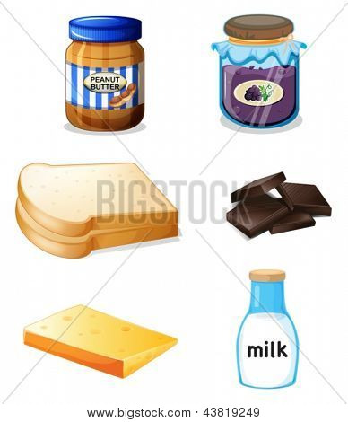 Illustration of the different foods with vitamins and minerals on a white background