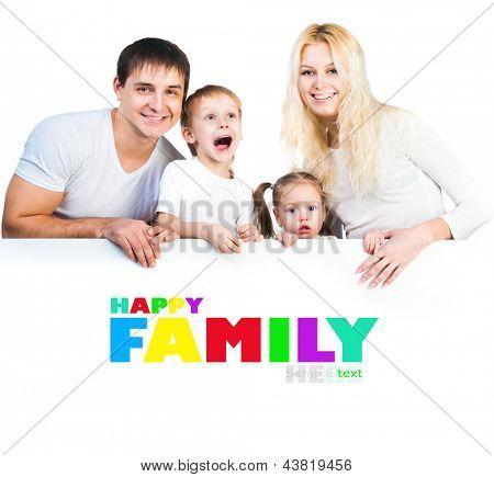 four members family near the white banner