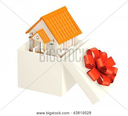 House in gift packing. Isolated over white