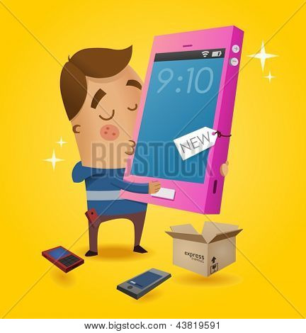Gadget Lover with his new smartphone. Vector illustration