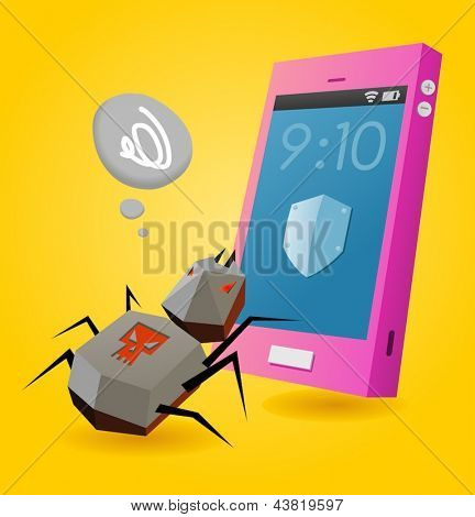 Virus threat on smartphone. Vector illustration
