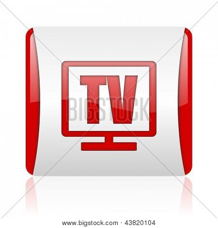 tv red and white square web glossy icon