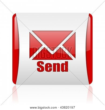 send red and white square web glossy icon