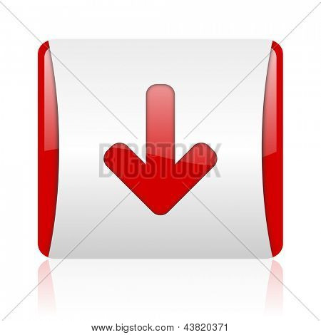 arrow down red and white square web glossy icon