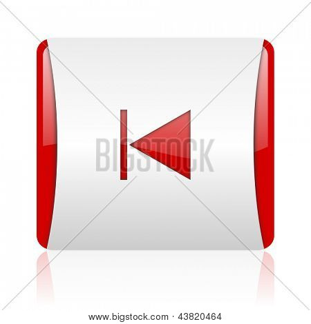 prev red and white square web glossy icon