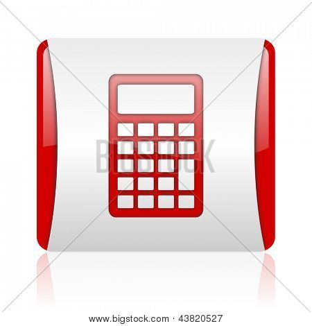 calculator red and white square web glossy icon