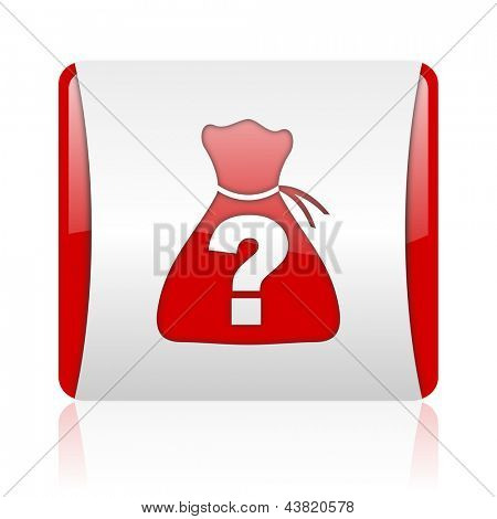 riddle red and white square web glossy icon