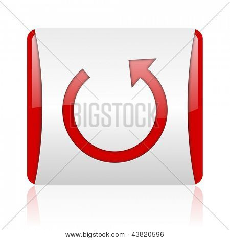 rotate red and white square web glossy icon