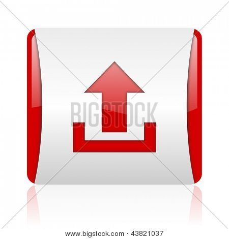 upload red and white square web glossy icon