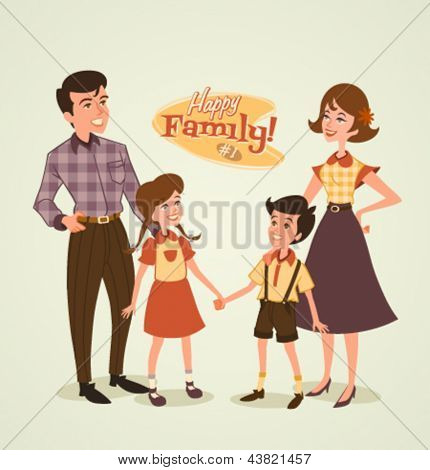 Retro family illustration