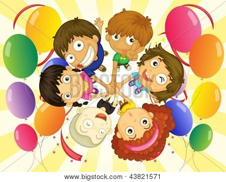 Illustration of the kids in a party on a white background