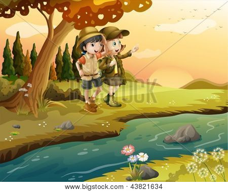 Illustration of a girl and a boy at the riverbank