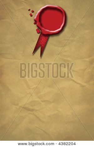 Red Wax Seal On A Grunge Paper Background