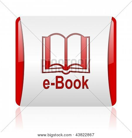 e-book red and white square web glossy icon