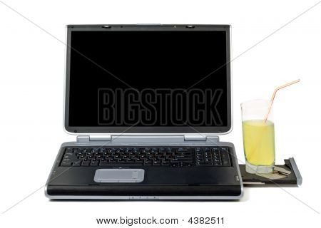 Laptop And Cocktail. Isolated On White Background