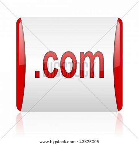 com red and white square web glossy icon