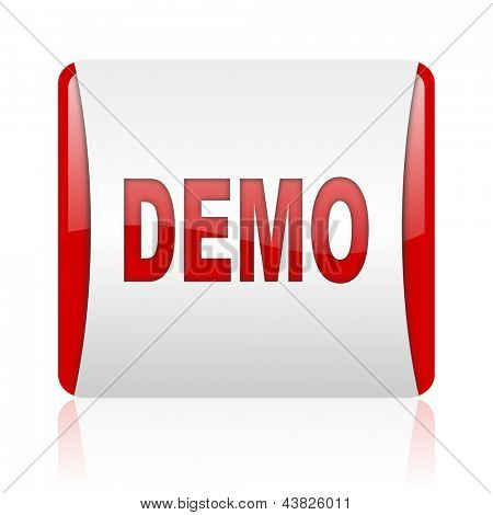demo red and white square web glossy icon