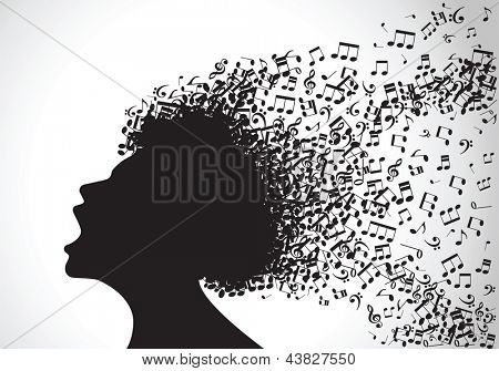 Vector illustration of abstract. man face silhouette in profile with musical hair