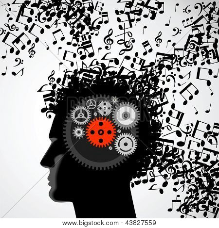 Vector illustration of abstract. man face silhouette in profile with musical hair and gears