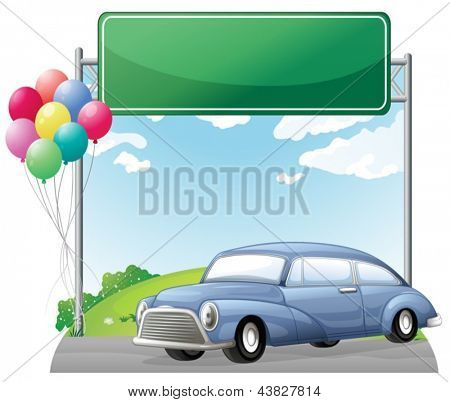 Illustration of a car and balloons with an empty signboard on a white background