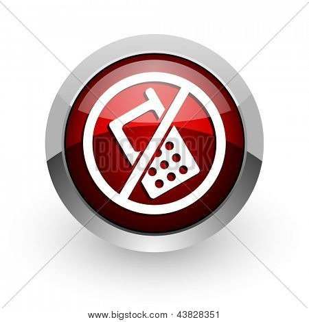 no phones red circle web glossy icon